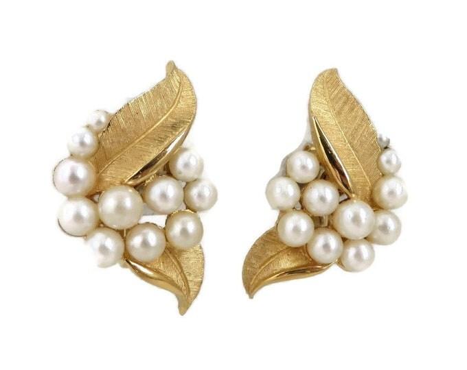 Vintage Trifari Faux Pearl Earrings, Gold Tone Leaf, Cluster Pearl Clip-on Earrings, Crown Trifari Jewelry