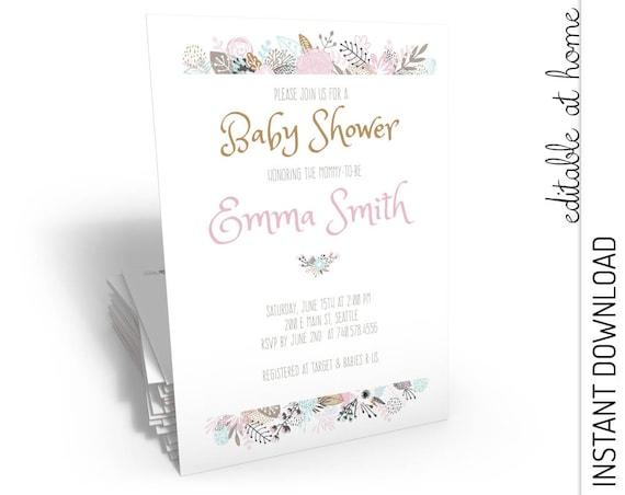 Floral Baby Shower Invitation INSTANT DOWNLOAD