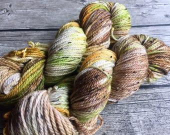 I Am Groot - Hand Dyed Superwash Merino Tweed Yarn - Worsted / Aran Weight Yarn - Hand Dyed Yarn