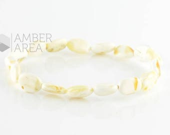 Baltic Amber Bracelet, White Amber color