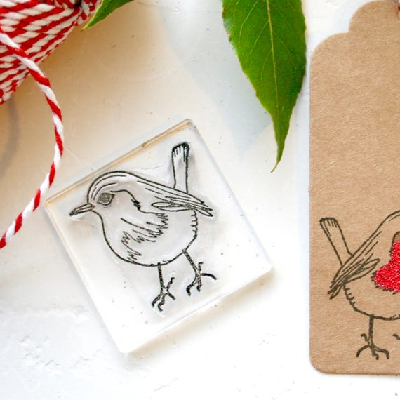 Robin Clear Rubber Stamp - Robin Stamp - Robin - Bird Stamp - Clear Rubber Stamp - Stamps - Little Stamp Store - Robin Red Breast - Stamping