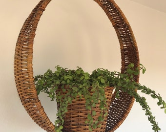 Hanging Wicker Planter - Hanging Planter - Circle Wicker Basket - Woven Wicker Round Plant Basket - Midcentury Modern Hanging Planter