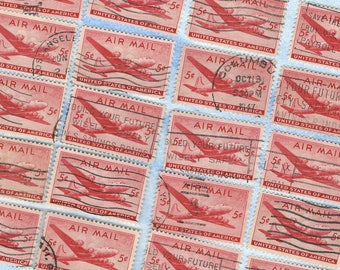 1946 AIRMAIL Red Skymaster Plane Used Stamps 5c - Vintage Postage Stamp US  B26