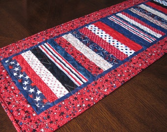 Patriotic Stripes Quilted Table Runner - red, white, and blue stripe table runner