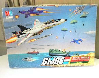 Vintage G.I. Joe Mural Puzzle Battle 1 of 4 Battles G I Joe Battles Cobra Command Army Troops Fighter Pilots Complete 221 Pieces 1985 Hasbro