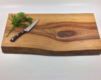 Live Edge cherry wood cutting board or serving tray / cheese board with natural live edge Ready to Ship