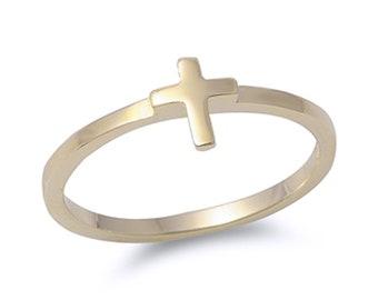 Women Sterling Silver Gold Tone Sideway Cross Ring / Free Gift Box(SNRP142005-YG)