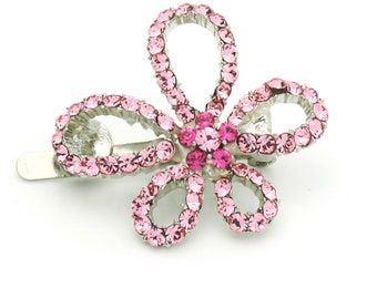 Hand Made Hair Jewelry Picasso swarovski crystal Flower Barrette Pink Rhinestone(SO7554-pk)