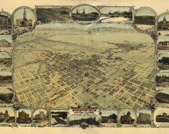 Bakersfield, California - (1901) - Panoramic Map (Art Print - Multiple Sizes Available)