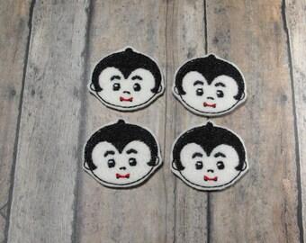 Dracula Vampire felties - Halloween - Machine embroidered - felt applique - felt embellishments - scrapbook embellishment