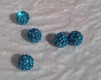 5 pearls with shamballa 10mm turquoise rhinestone