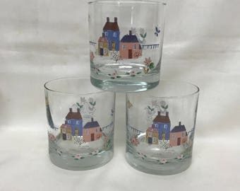 Set Of Three Vintage International Heartland Glasses Farm Scene Eight Oz