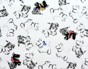 Jane Makower Inprint Off White Scottie Dogs Patchwork Quilting Sewing Dressmaking Fabric