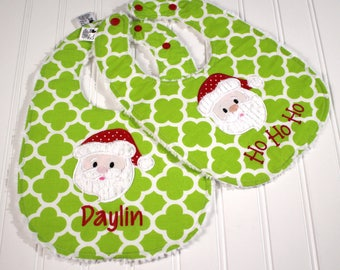 Christmas Baby Bib, Santa Baby Bib, Personalized Bib, Baby Girl Baby Boy, Santa Face, Winter Baby Gift, Completely Reversible and adjustable