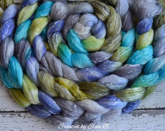 Merino/ Tencel/ Silk 'Raindrops' 4 oz spinning fiber, Created by Elsie B combed top, hand dyed wool, tencel, hand dyed roving, blue, green