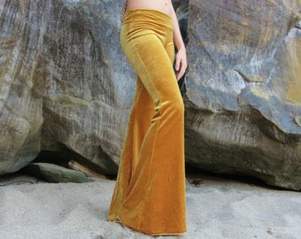 GOLD VELVET 70's fall fashion hippie chic boho dance yoga festival burning man gypsy bell bottom flares