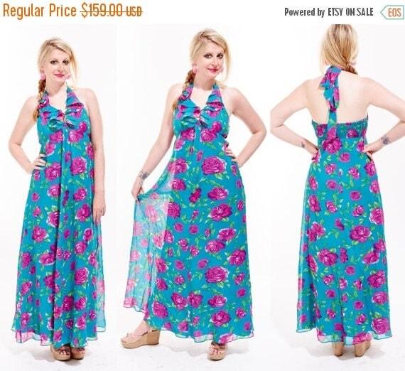 BETSEY JOHNSON Silk Botanical Floral Ruffle HALTER Top Maxi Dress Tropical Resort Designer Colorful Boho Hippie Festival hawaiian backless