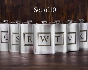 10 personalized groomsmen flasks, custom flasks, engraved flasks, party favors, flasks gift set, thank you gift, cheap gift flask, set of 10