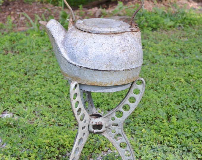 Vintage Cast Iron Kettle and Tripod Stand Foster Rusty Chippy Paint Old Metal Farmhouse Chic Collectible PanchosPorch