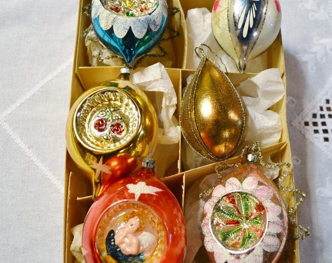 Vintage Glass Christmas Ornaments Box of 6 Assorted Colors and Designs. Tree Holiday Decor PanchosPorch