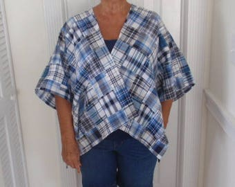 blues, white and black patchwork wrap