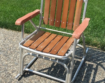 Mid Century Rocking Lawn Chair
