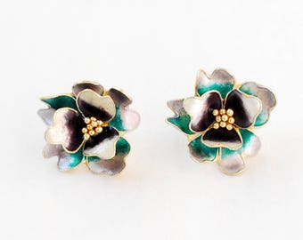 Pretty Posie Sterling Silver Enameled Flower Blossom Earrings, Gold Wash, Green, Purple, White, Nature Design, Vintage Estate Jewelry