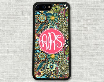 Floral iPhone 7 Case, Floral Monogrammed iPhone Case, iPhone 6 Case, iPhone 6S Case, iPhone 5 Case, Monogrammed 1216