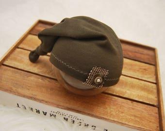 Newborn Boy Hat, Baby Hat, Knot Hat, Newborn Hat Prop, Newborn Photo Prop, Sleepy Hat, Khaki Green, Newborn Props, Baby Boy Outfit