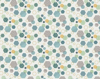 Fossil Rim - Hexagon Cream by Deena Rutter for Riley Blake Designs, 1/2 yard, C6612-Cream