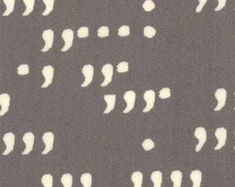 COMMA - Chalk Commas on Slate Gray - Grey Novelty Cotton Quilt Fabric - by Zen Chic for Moda Fabrics - 1514-18 (W4116)