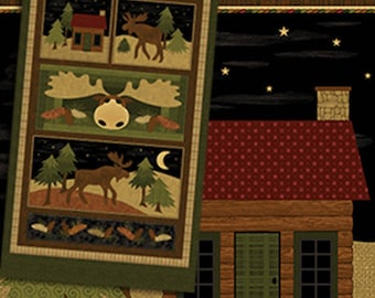"MOOSE on the LOOSE Panel - Sweet Moose Cotton Quilt Fabric - approx. 24"" x 44"" - Cheryl Haynes for Benartex Fabrics - 4300-99 (W4429)"