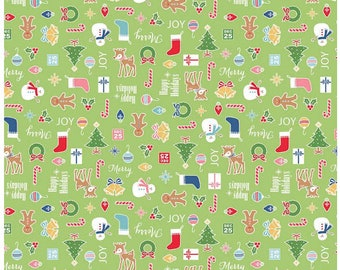 COZY CHRISTMAS - Main in Green -  Adorable Holiday Cotton Quilt Fabric - C5360-GREEN - by Lori Holt for Riley Blake Designs Fabrics (W4307)