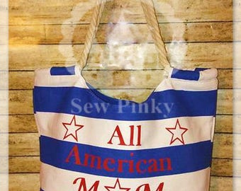 Tote Bag, All American Mom Tote Bag, 4th of July Tote Bag, Independence Day Tote Bag, Beach Bag, Mom Gift Bag, Fireworks Tote Bag, Big Tote