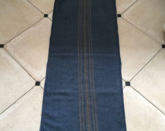 DNS42 Grey Blue Dyed Vintage Linen Grain Sack with Taupe Stripe Upholstery Fabric Flour Sack for Sewing Projects Bath Mat Pillow Cover