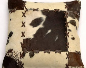 Natural Cowhide Luxurious Patchwork Hairon Cushion/pillow Cover (15''x 15'')a208