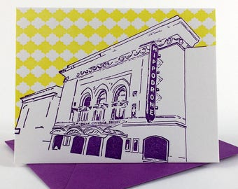 Baltimore Letterpress Card | Hippodrome Theatre | purple & yellow single blank card with envelope