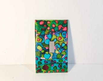 Switchplate, Retro Decor, Funky Decor, Painted Switchplate, Home Decor, Light Switch, Colorful Decor