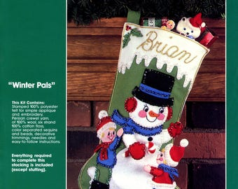 "Bucilla Winter Pals ~ 17"" Felt Christmas Stocking Kit #32223, Snowman, Boy, Girl"