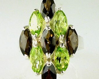 Stunning Large Marquise Smokey Quartz and Peridot Ring 925 Sterling Silver