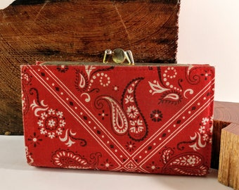 Vintage Centra Red Leather and Bandanna Fabric Lady's Wallet/Coin Purse with Gold Tone Closure. Retro, Boho Purse Accessories.