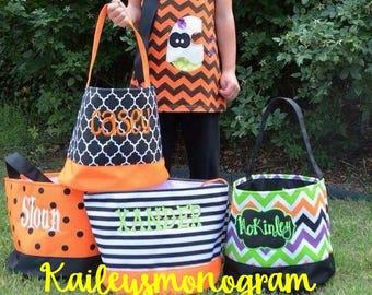 Canvas Halloween Tote - Custom - Halloween Bag -  Candy Bags - Personalized Halloween Bucket - Black Halloween Tote - Halloween Treat Bags