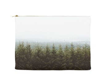 Forest zipper pouch, printed makeup bag, tree photography, large handbag