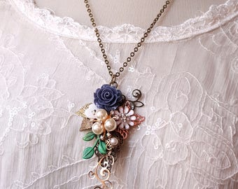 Vintage inspired necklace navy blue and white flowers assemblage necklace Pearl and rhinestone pendant