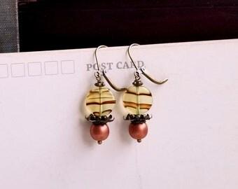 Czech glass Copper tone boho dangling earrings Fancy spacers