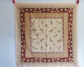 Vintage Scarf Pink flower scarf 65cm x 67cm