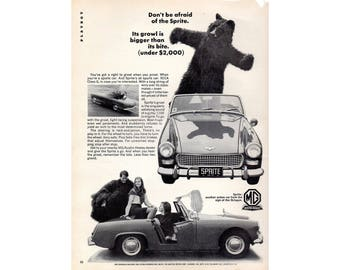 Vintage poster advertisement for a 1966 MG Sprite - 26