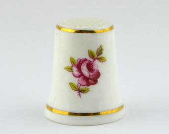Vintage Royal Adderley Floral Pink Rose Bone China Thimble Made in England