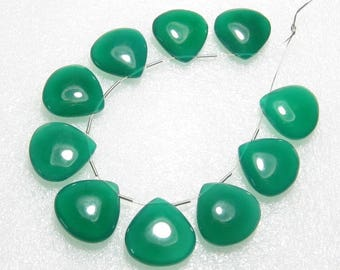 Green Onyx - 5 Matching Pairs - Smooth - Heart Shape - size 18x18 mm