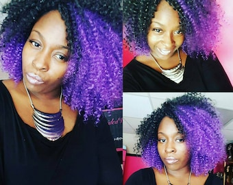 Royalty purple and black natural crochet wig